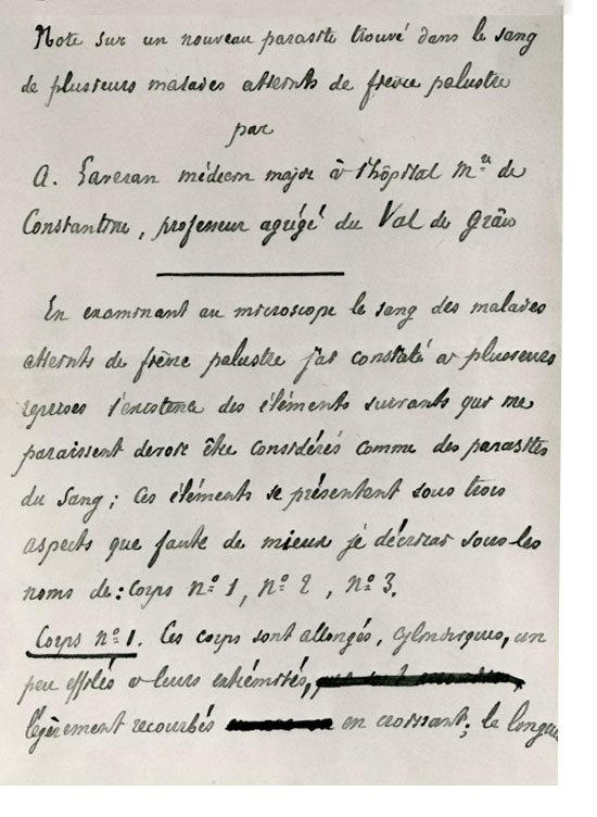 Manuscript notice of Laveran communicating his findings to the National French Academy of Medicine a few weeks after his discovery